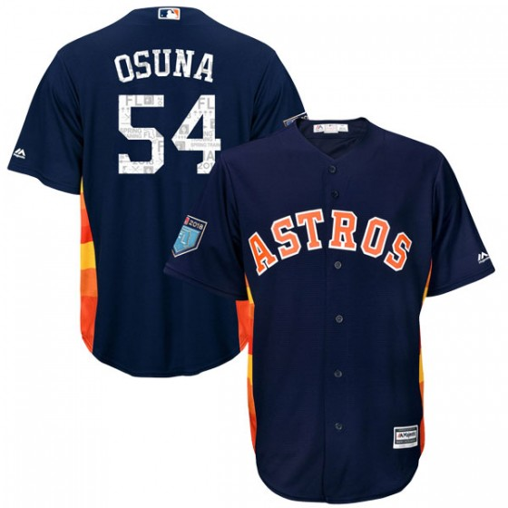 Men's Houston Astros Roberto Osuna Majestic Cool Base 2018 Spring Training Navy Jersey