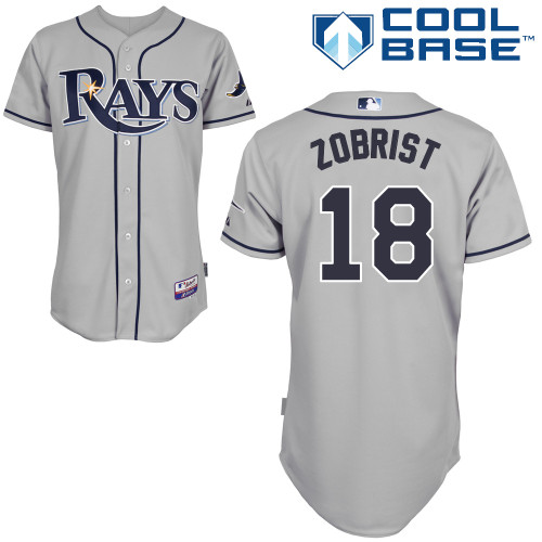 Men's Tampa Bay Rays #18 Ben Zobrist Gray Road Stitched MLB Majestic Cool Base Jersey