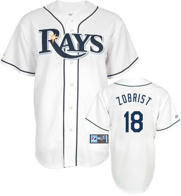Men's Tampa Bay Rays #18 Ben Zobrist White Home Stitched MLB Majestic Cool Base Jersey