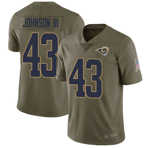 Rams #43 John Johnson III Olive Men's Stitched Football Limited 2017 Salute To Service Jersey
