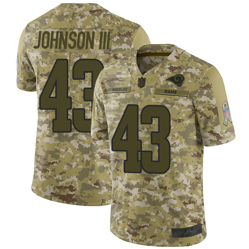 Rams #43 John Johnson III Camo Men's Stitched Football Limited 2018 Salute To Service Jersey