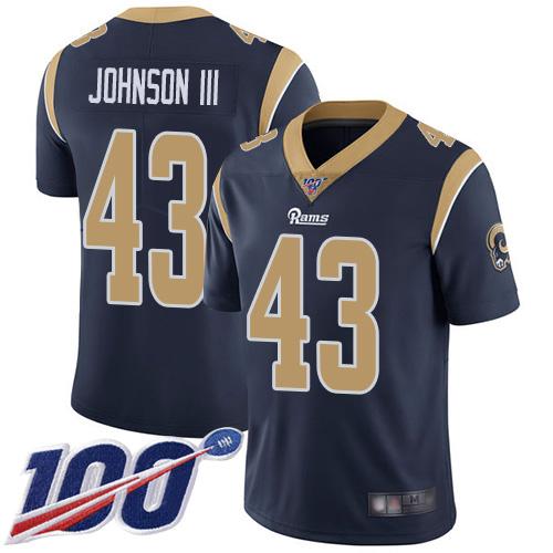 Rams #43 John Johnson III Navy Blue Team Color Men's Stitched Football 100th Season Vapor Limited Jersey