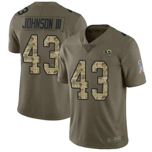 Rams #43 John Johnson III Olive Camo Men's Stitched Football Limited 2017 Salute To Service Jersey