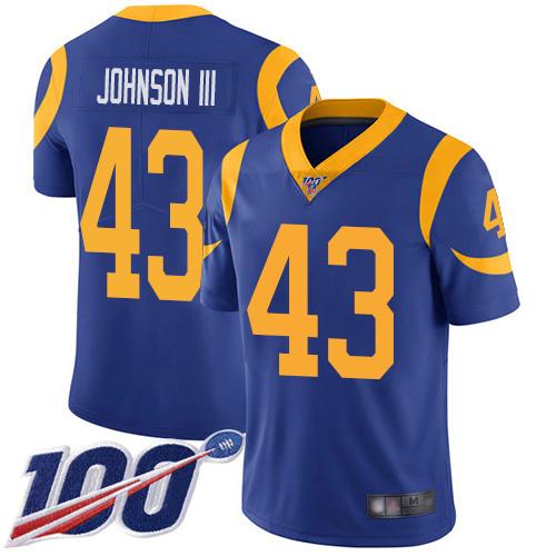 Rams #43 John Johnson III Royal Blue Alternate Men's Stitched Football 100th Season Vapor Limited Jersey