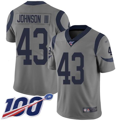 Rams #43 John Johnson III Gray Men's Stitched Football Limited Inverted Legend 100th Season Jersey