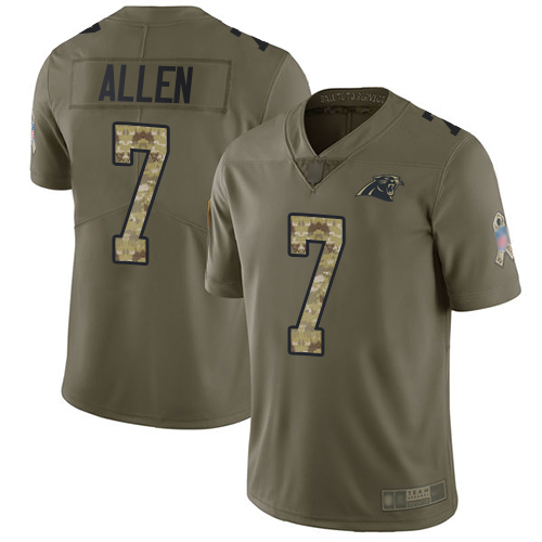 Panthers #7 Kyle Allen Olive Camo Men's Stitched Football Limited 2017 Salute To Service Jersey