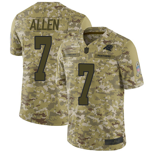 Panthers #7 Kyle Allen Camo Men's Stitched Football Limited 2018 Salute To Service Jersey