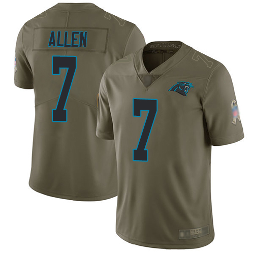 Panthers #7 Kyle Allen Olive Men's Stitched Football Limited 2017 Salute To Service Jersey
