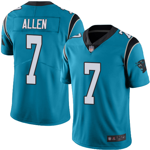 Panthers #7 Kyle Allen Blue Men's Stitched Football Limited Rush Jersey