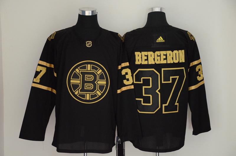 Men's Boston Bruins 37 Patrice Bergeron Black Gold Adidas Jersey