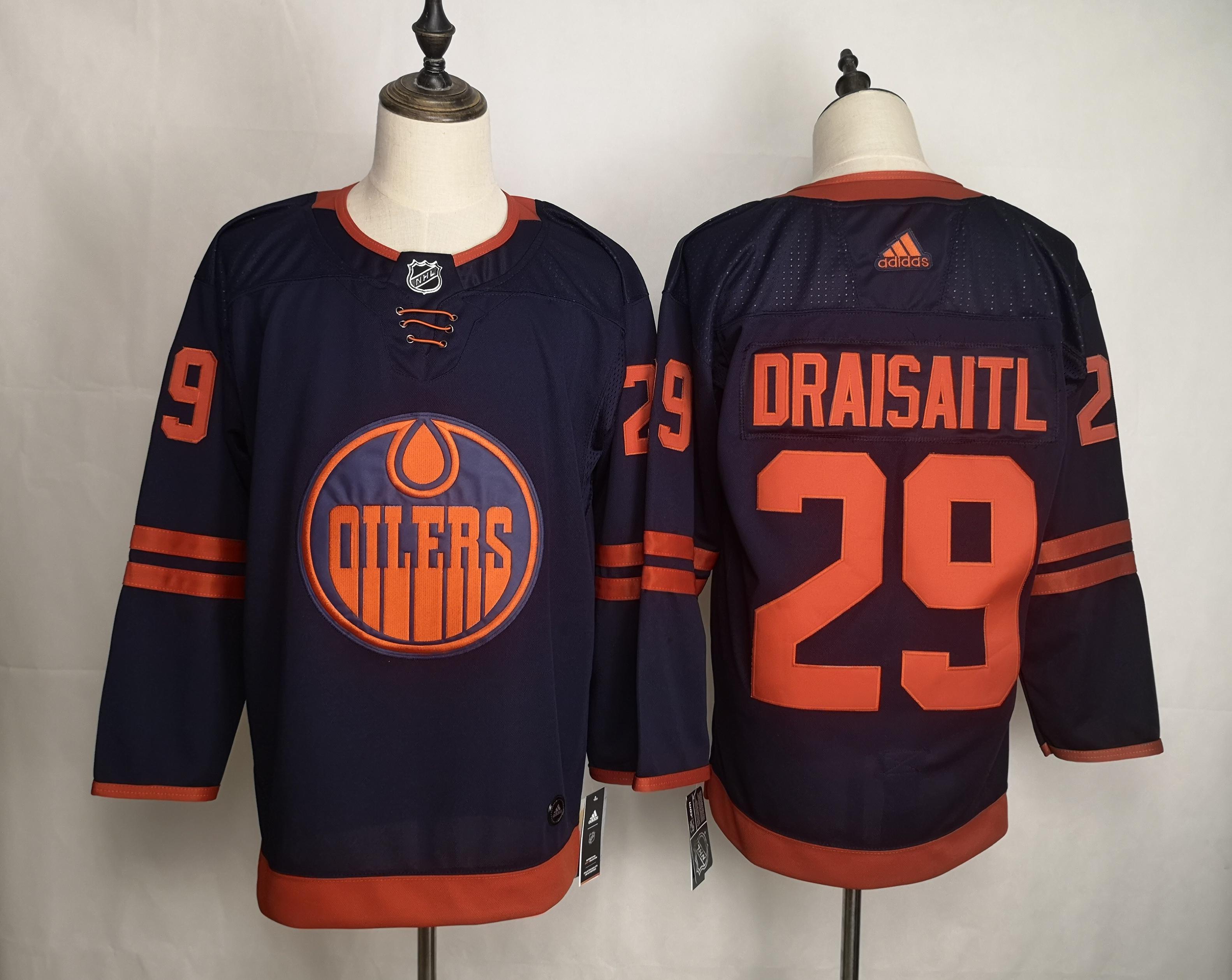Men's Edmonton Oilers 29 Leon Draisaitl Navy 50th anniversary Adidas Jersey