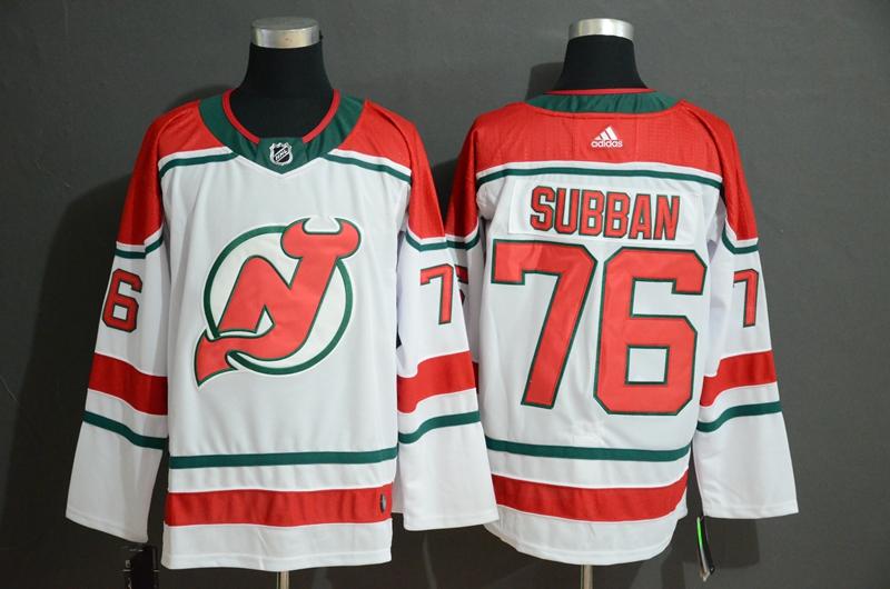 Men's New Jersey Devils 76 P.K. Subban White Adidas Jersey