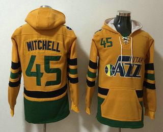 Men's Utah Jazz #45 Donovan Mitchell NEW Yellow Pocket Stitched NBA Pullover Hoodie