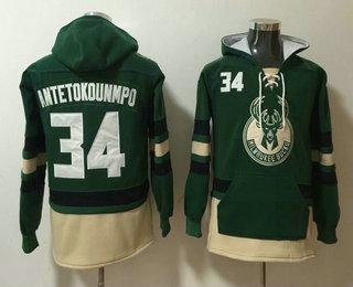 Men's Milwaukee Bucks #34 Giannis Antetokounmpo Green Pocket Stitched NBA Pullover Hoodie
