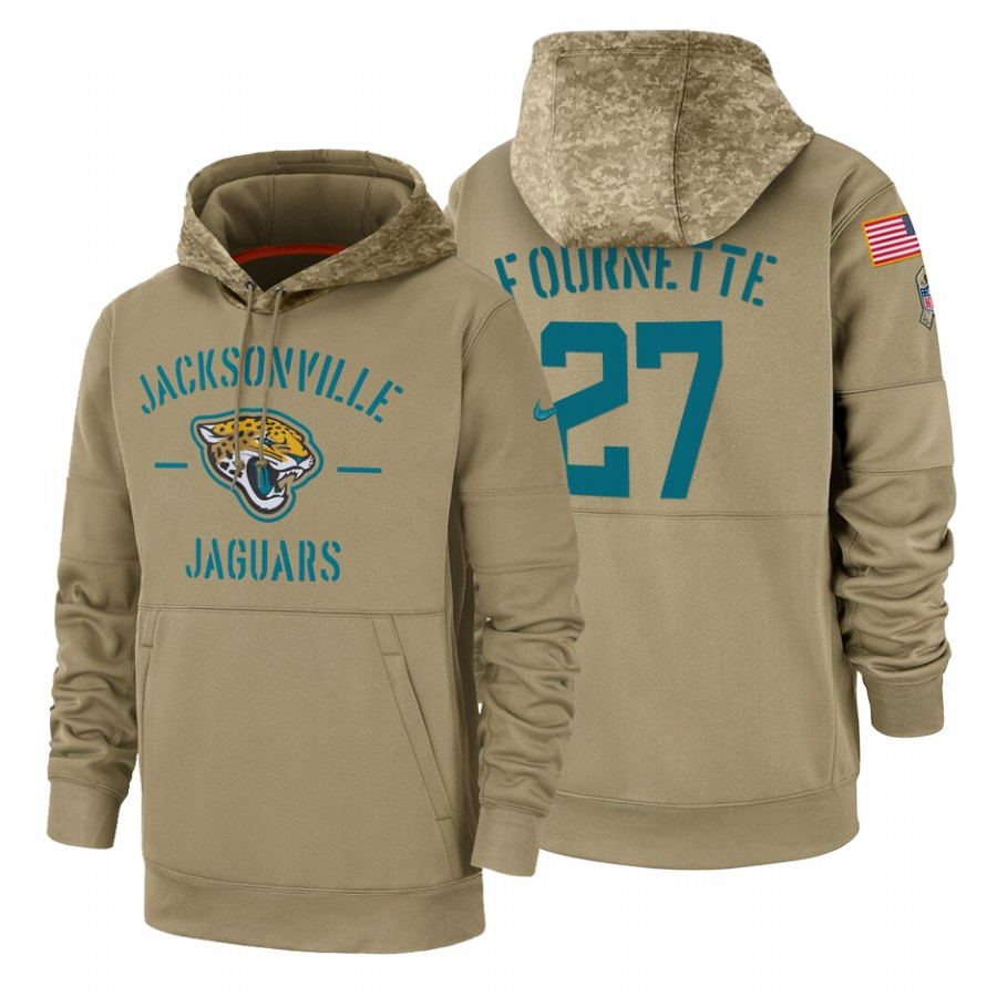 Jacksonville Jaguars #27 Leonard Fournette Nike Tan 2019 Salute To Service Name & Number Sideline Therma Pullover Hoodie