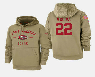 Men's San Francisco 49ers #22 Matt Breida Nike Tan 2019 Salute To Service Name & Number Sideline Therma Pullover Hoodie
