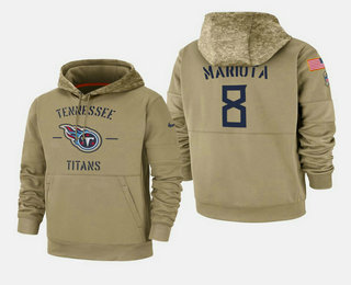 Men's Tennessee Titans #8 Marcus Mariota Nike Tan 2019 Salute To Service Name & Number Sideline Therma Pullover Hoodie