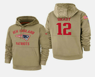 Men's New England Patriots #12 Tom Brady Nike Tan 2019 Salute To Service Name & Number Sideline Therma Pullover Hoodie