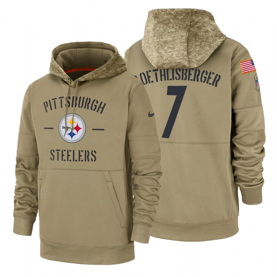 Pittsburgh Steelers #7 Ben Roethlisberger Nike Tan 2019 Salute To Service Name & Number Sideline Therma Pullover Hoodie