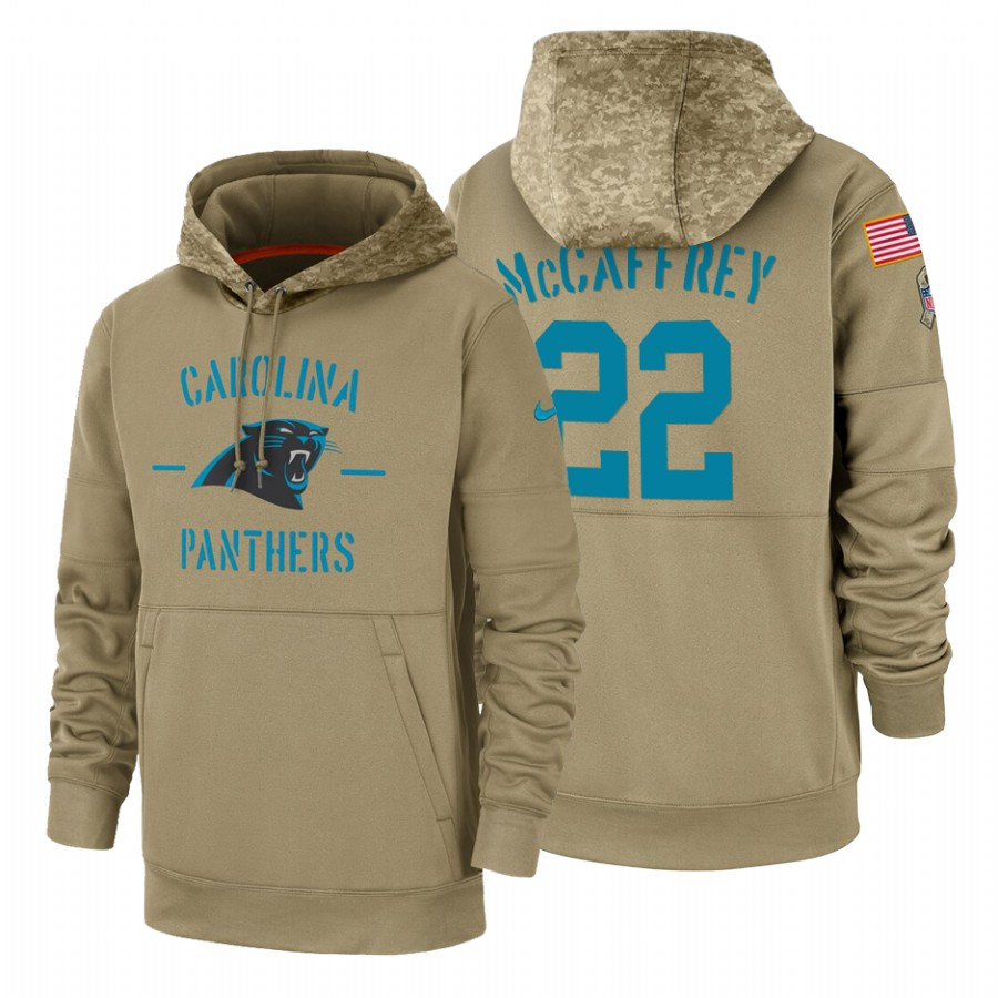 Carolina Panthers #22 Christian Mccaffrey Nike Tan 2019 Salute To Service Name & Number Sideline Therma Pullover Hoodie