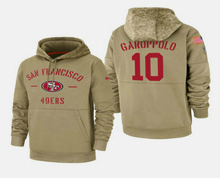 Men's San Francisco 49ers #10 Jimmy Garoppolo Nike Tan 2019 Salute To Service Name & Number Sideline Therma Pullover Hoodie