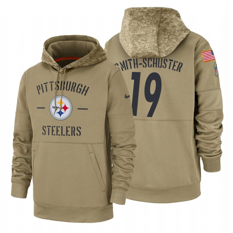 Pittsburgh Steelers #19 JuJu Smith-Schuster Nike Tan 2019 Salute To Service Name & Number Sideline Therma Pullover Hoodie