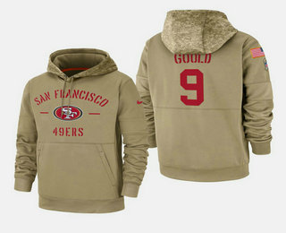 Men's San Francisco 49ers #9 Robbie Gould Nike Tan 2019 Salute To Service Name & Number Sideline Therma Pullover Hoodie