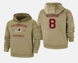 Men's Washington Redskins #8 Case Keenum Nike Tan 2019 Salute To Service Name & Number Sideline Therma Pullover Hoodie