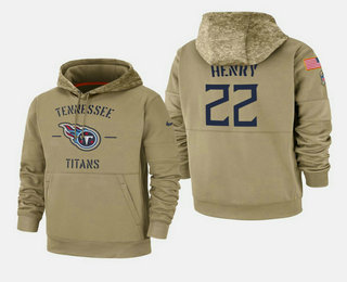 Men's Tennessee Titans #22 Derrick Henry Nike Tan 2019 Salute To Service Name & Number Sideline Therma Pullover Hoodie