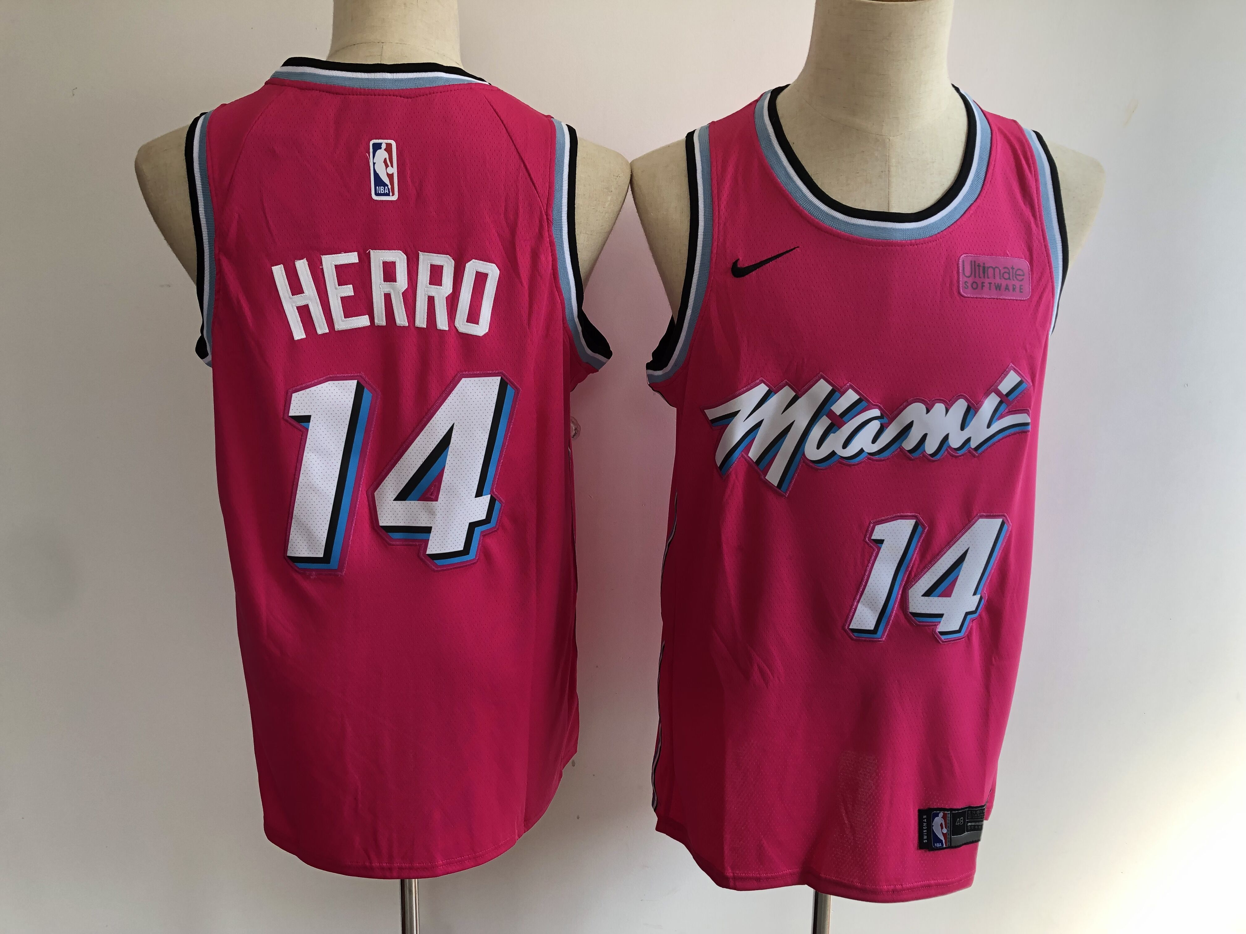 Heat 14 Tyler Herro Pink City Edition Nike Swingman Jersey