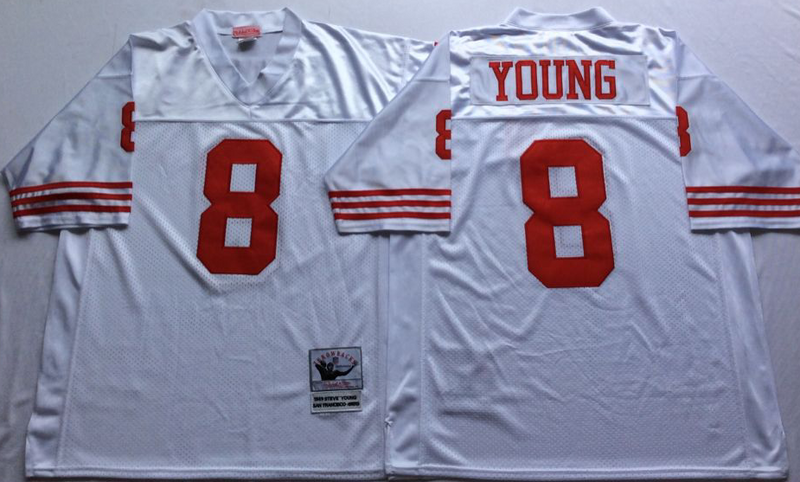 49ers 8 Steve Young White M&N Throwback Jersey