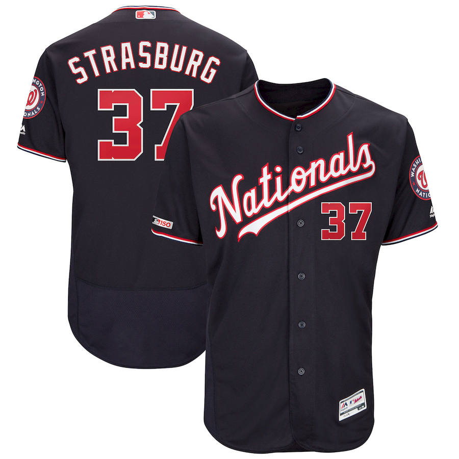 Washington Nationals #37 Stephen Strasburg Majestic Alternate Authentic Collection Flex Base Player Navy Jersey