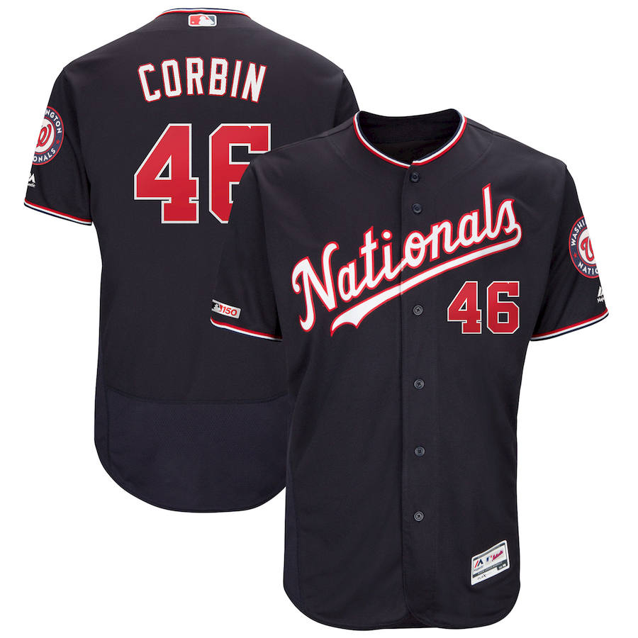 Washington Nationals #46 Patrick Corbin Majestic Alternate Authentic Collection Flex Base Player Navy Jersey
