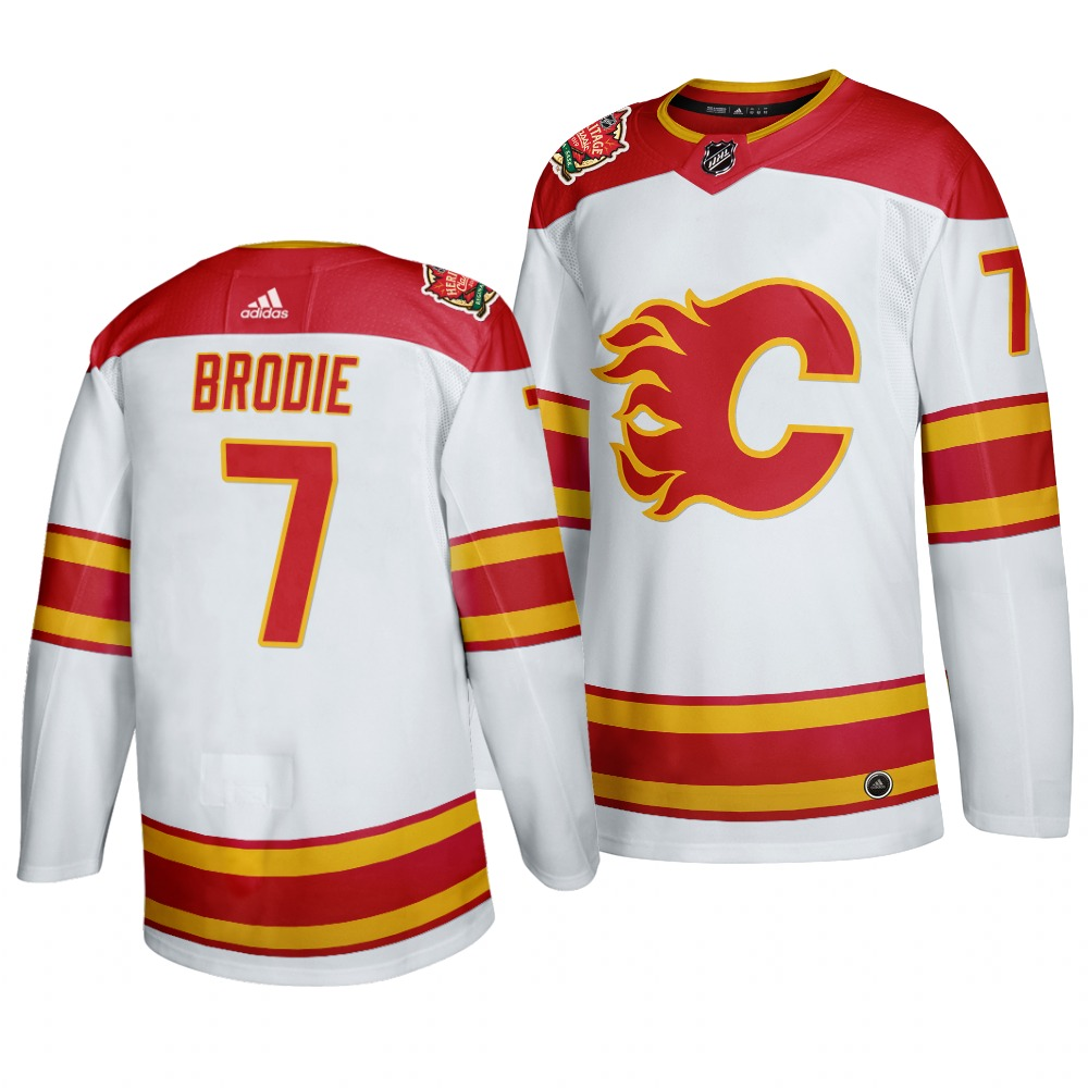 Men's Calgary Flames #7 T. J. Brodie 2019 Heritage Classic Authentic White Jersey