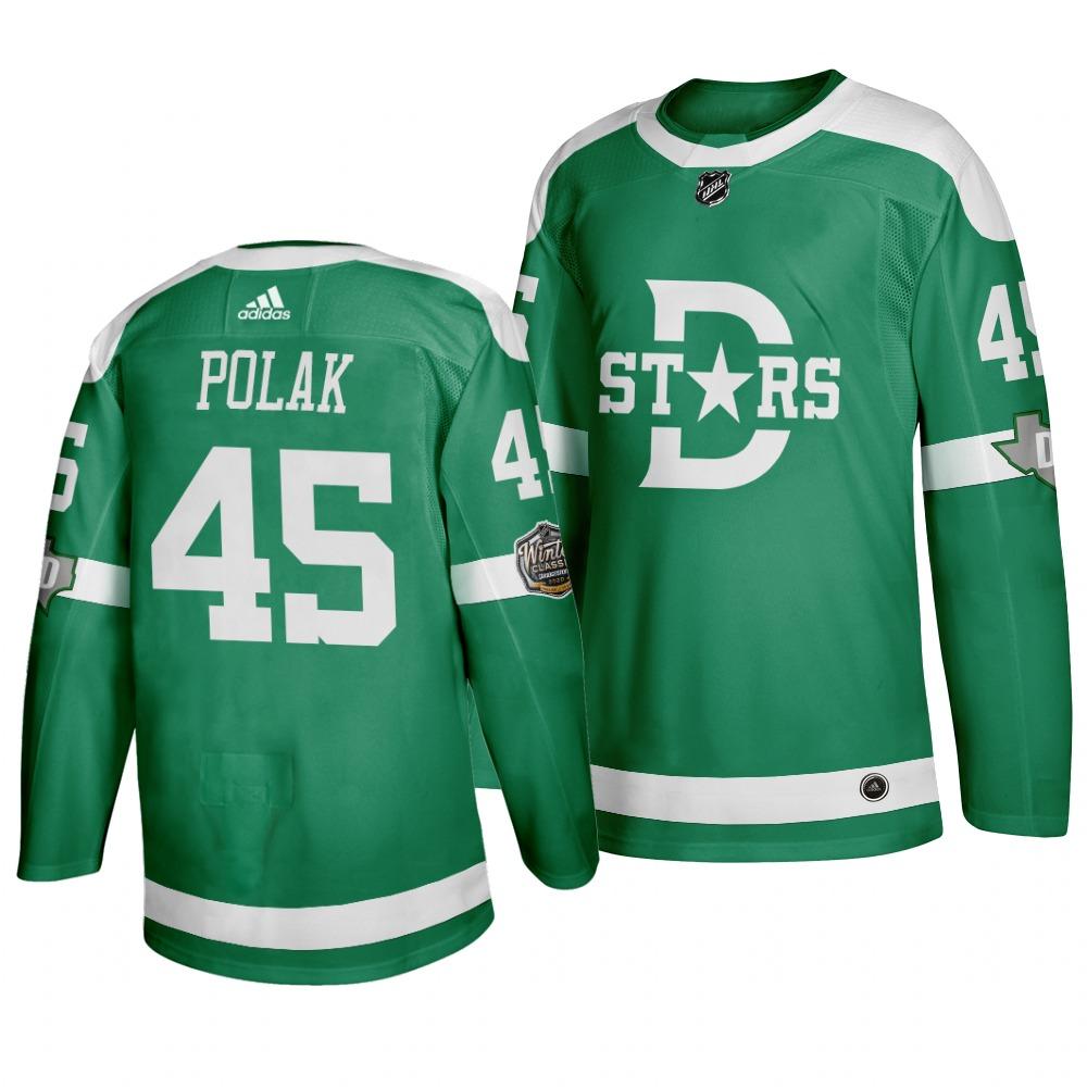 Men's Dallas Stars 45 Roman Polak Green 2020 Winter Classic Adidas Jersey