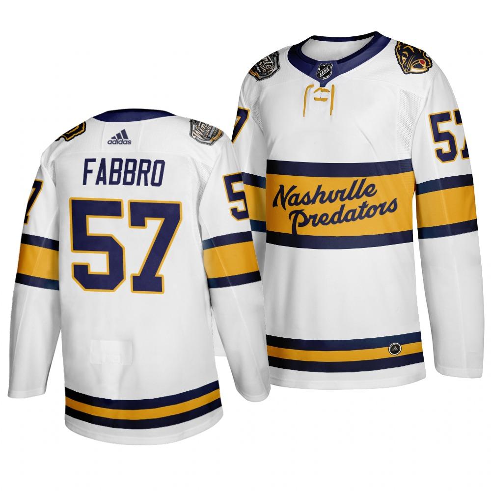 Men's Nashville Predators 57 Dante Fabbro White 2020 Winter Classic Adidas Jersey