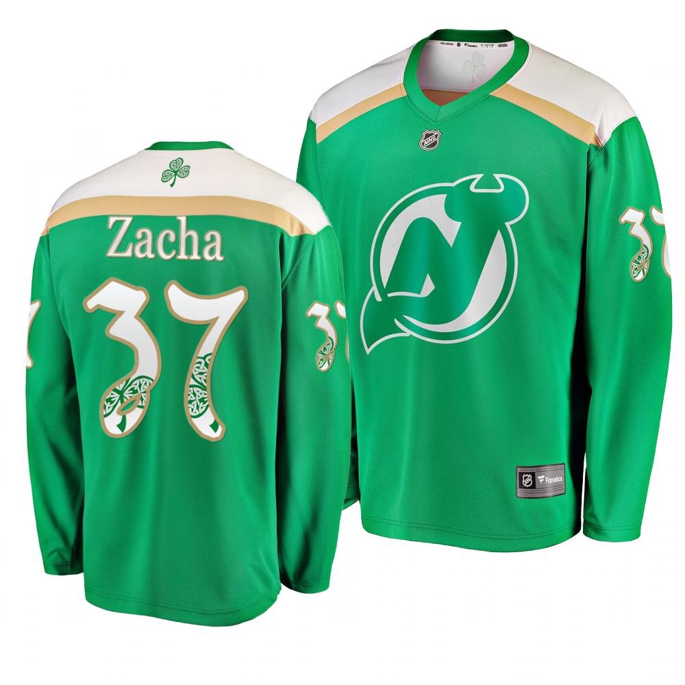 Devils 37 Pavel Zacha Green 2019 St. Patrick's Day Adidas Jersey