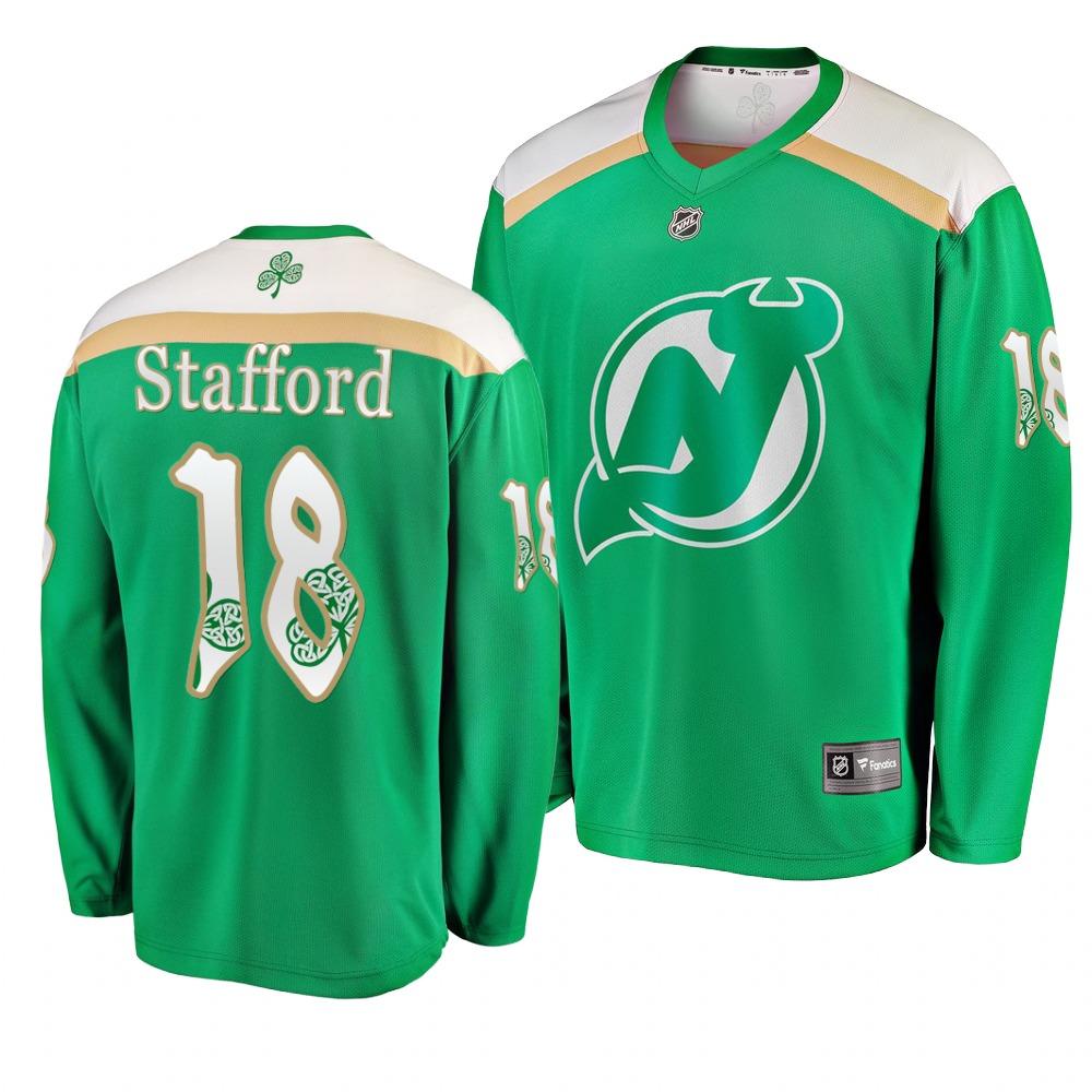 Devils 18 Drew Stafford Green 2019 St. Patrick's Day Adidas Jersey