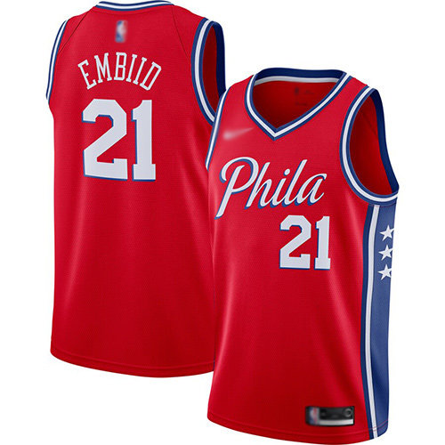 76ers #21 Joel Embiid Red Basketball Swingman Statement Edition 2019-2020 Jersey