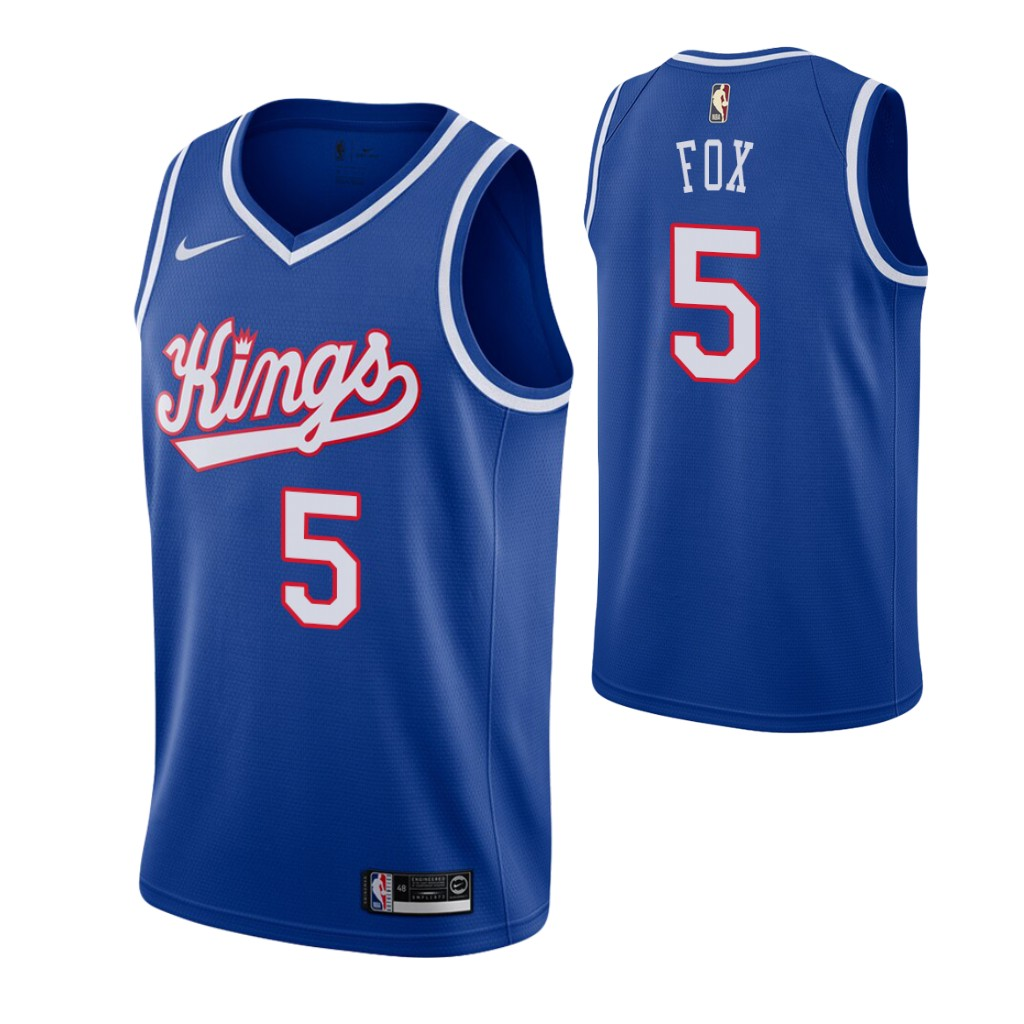 Men's Sacramento Kings #5 De'Aaron Fox Blue 2019-20 Hardwood Classics Jersey