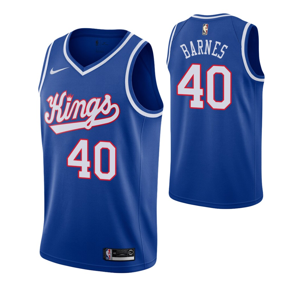 Men's Sacramento Kings #40 Harrison Barnes Blue 2019-20 Hardwood Classics Jersey