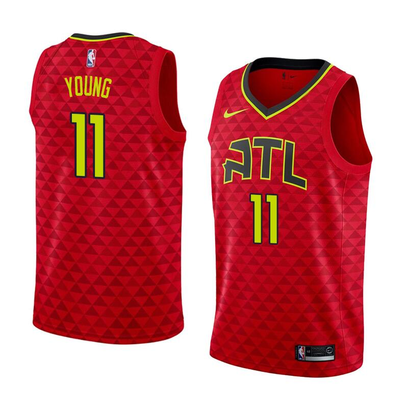 Men's Nba Atlanta Hawks #11 Trae Young Red Nike Statement Edition Jersey