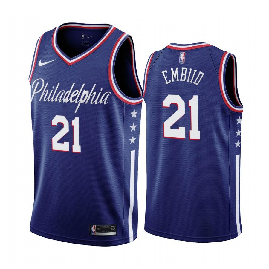 Nike 76ers #21 Joel Embiid Navy 2019-20 City Edition Swingman NBA Jersey
