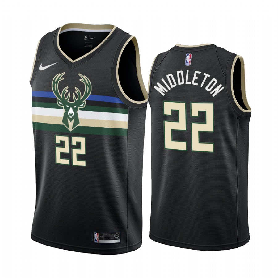 Nike Bucks #22 Khris Middleton Black 2019-20 Statement Edition NBA Jersey