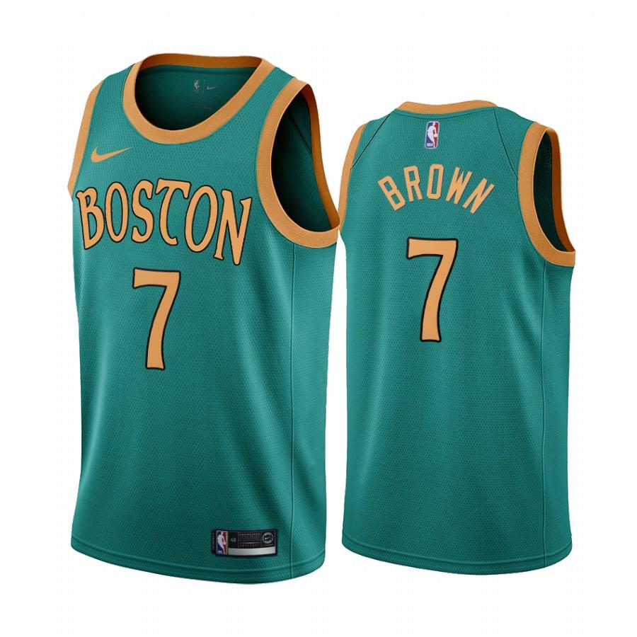 Nike Celtics #7 Jaylen Brown Green 2019-20 City Edition NBA Jersey