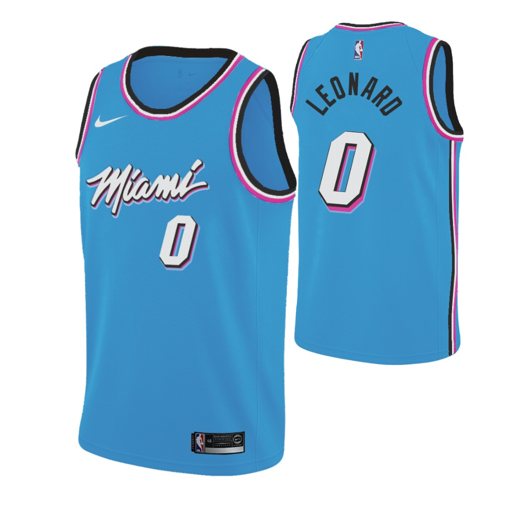 Nike Heat #0 Meyers Leonard 2019-20 Men's Blue Miami City Edition NBA Jersey