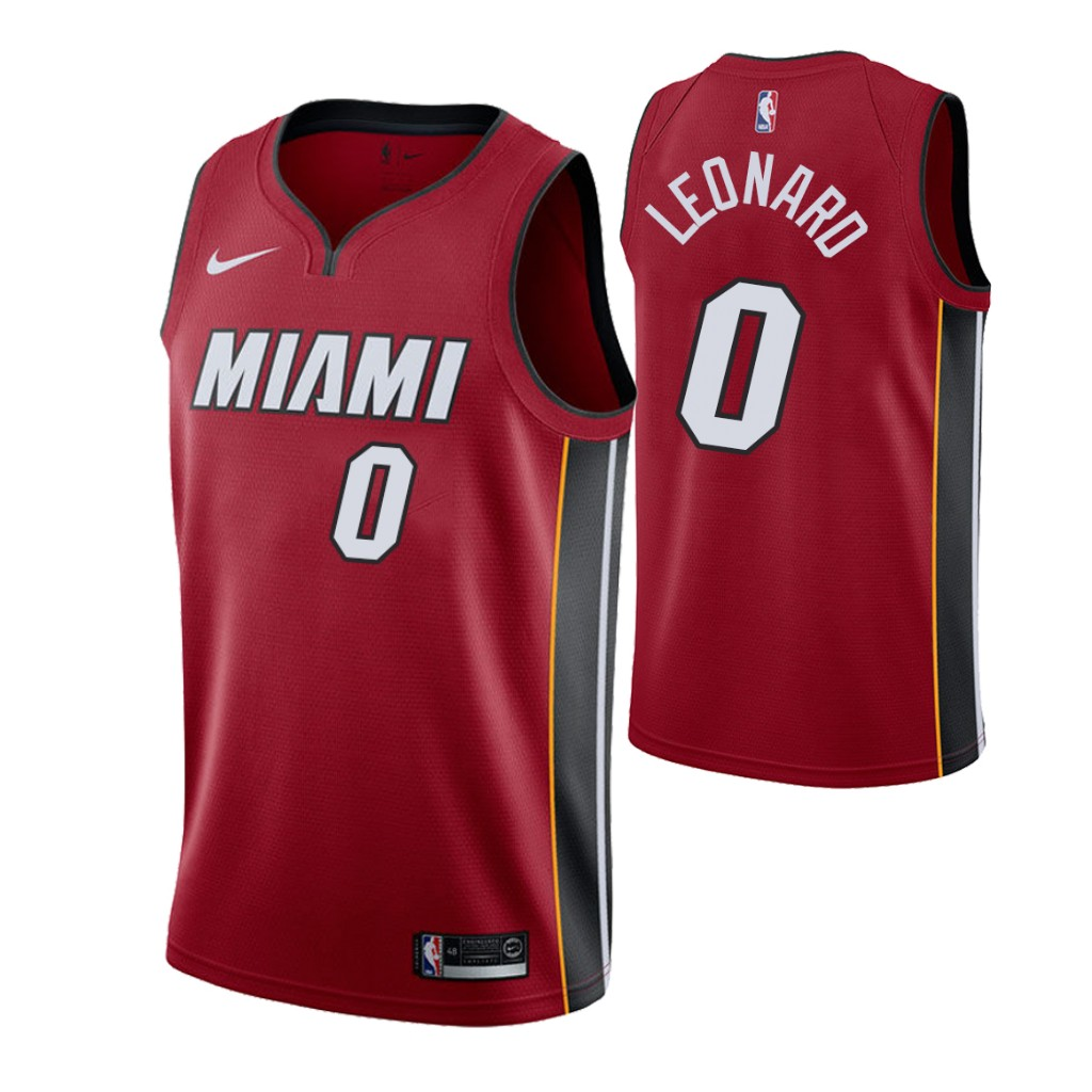 Nike Heat #0 Meyers Leonard Men's Statement Edition Red NBA Jersey