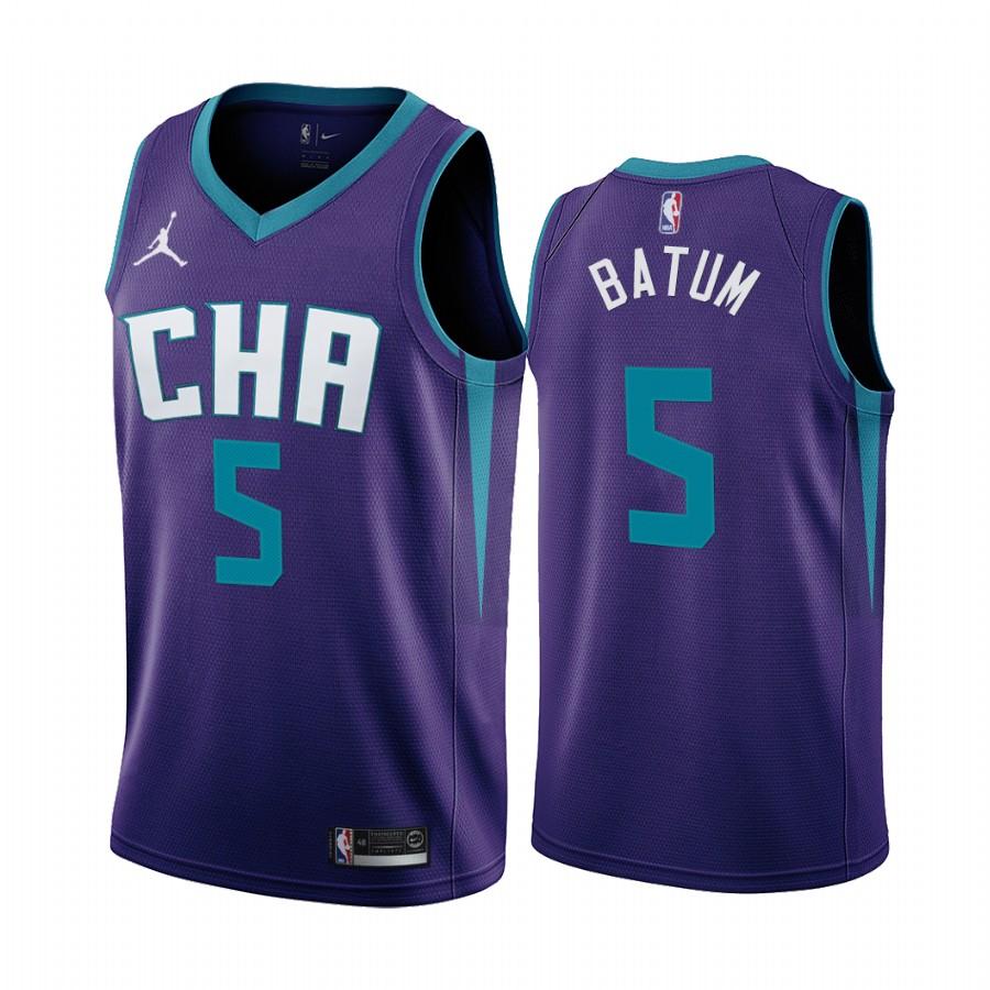 Nike Hornets #5 Nicolas Batum Purple 2019-20 Statement Edition NBA Jersey