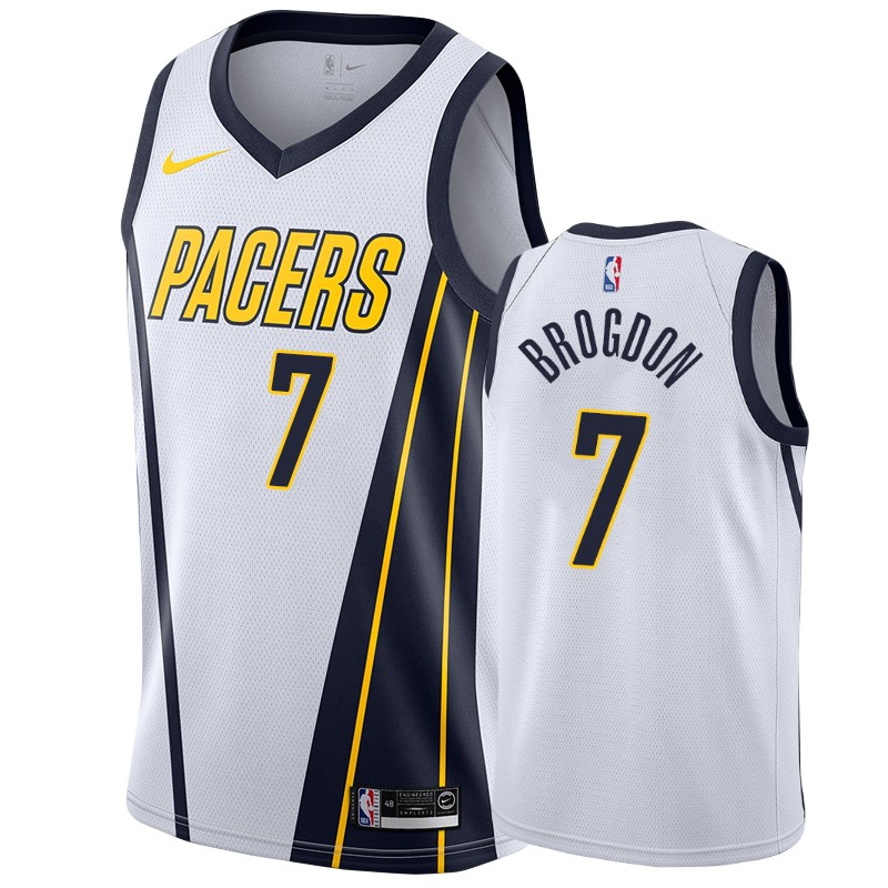 Nike Pacers #7 Malcolm Brogdon White NBA Swingman Earned Jersey