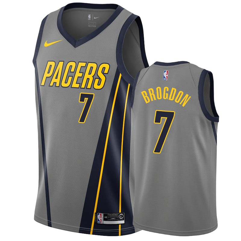 Nike Pacers #7 Malcolm Brogdon Gray City Edition Men's NBA Jersey